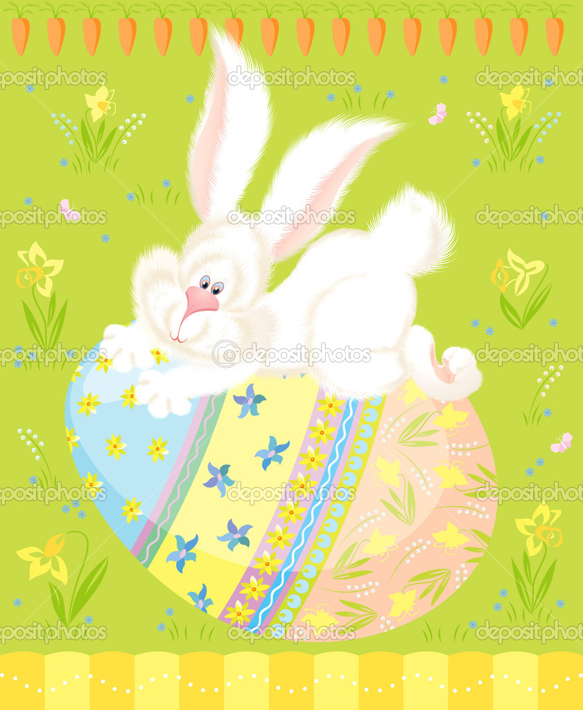 Vector illustration of cute white bunny on a painted easter egg — Stock Vector #4965914