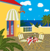 Restaurant by the sea — Stock Vector