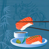 Salmon sushi — Stock Vector
