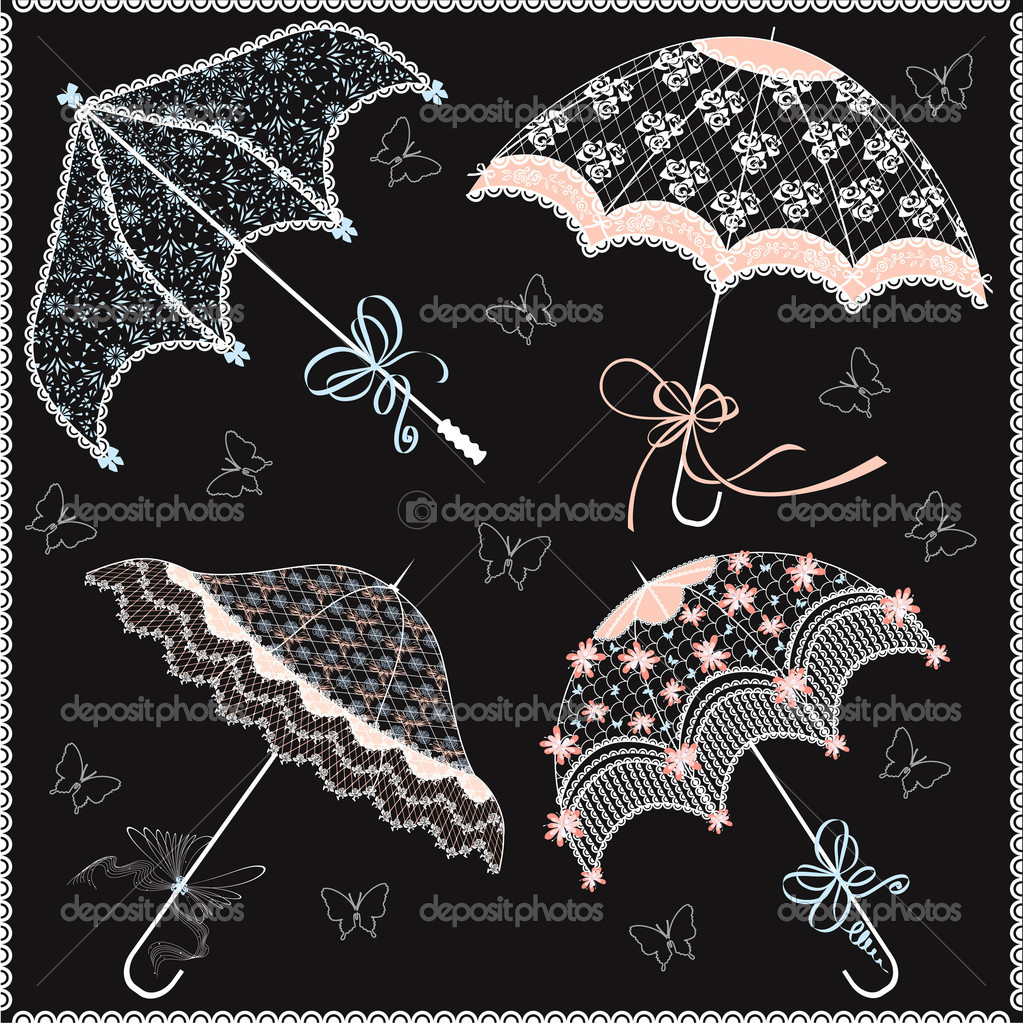 Collection of vintage lace parasols on a black background — Stock Vector #5345256