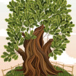 Vector de stock : Oak tree