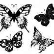 Black a white set of butterflies of tattoos — Stock Vector