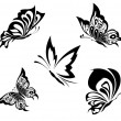 Royalty-Free Stock Vector Image: Black white butterflies of a tattoo