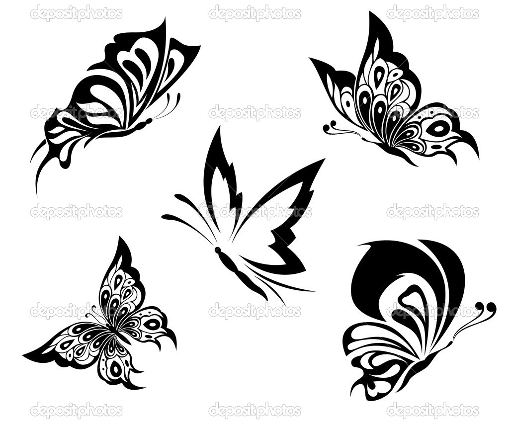 Black white butterflies of a tattoo — Stock Vector #4261813
