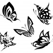 Stock Vector: Set black white butterflies of a tattoo