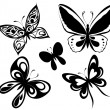 Royalty-Free Stock Vector Image: Set  black white butterflies of a tattoo