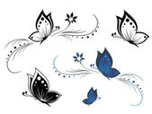 Butterflies with a flower pattern — Stock Vector