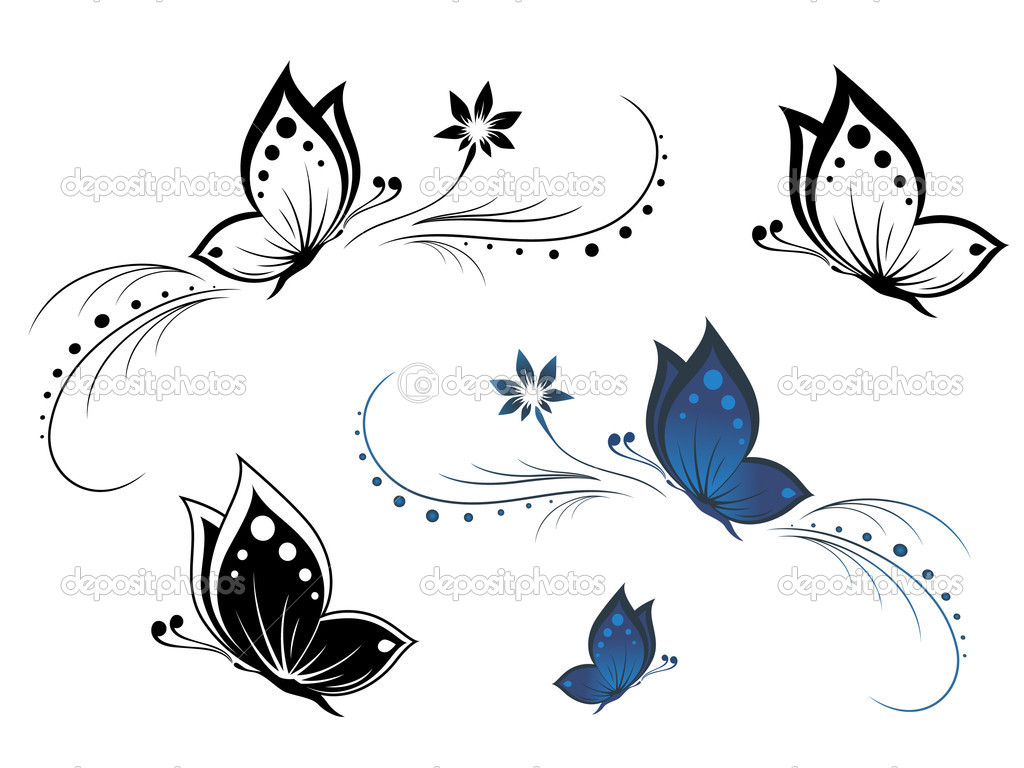 Butterflies with a flower pattern  Stock Vector #4275753