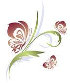 Butterflies with a flower pattern — Stock Vector