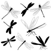 Set of silhouettes of dragonflies, tattoo — Stock Vector