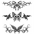 Set tribal with butterflies, tattoo — Stock Vector #4601222