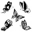 Set black white butterflies of a tattoo — Stock Vector