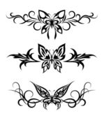 Set tribal with butterflies, tattoo — Stock Vector