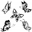 Set  black white butterflies of a tattoo — Stok Vektör