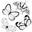 Royalty-Free Stock Vectorielle: Set  black white butterflies of a tattoo