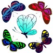 Stock Vector: Set of color butterflies of tattoos
