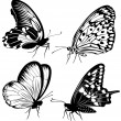 Set black white butterflies of a tattoo — Stock Vector #5166372