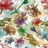 Retro seamless roses pattern. Vector Illustration — Stock Vector