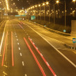 Night time traffic motion blur — Stock Photo