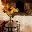 Stock Photo: Vase with beautiful sunflowers