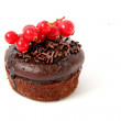 Chocolate cupcake on white background — Stock Photo
