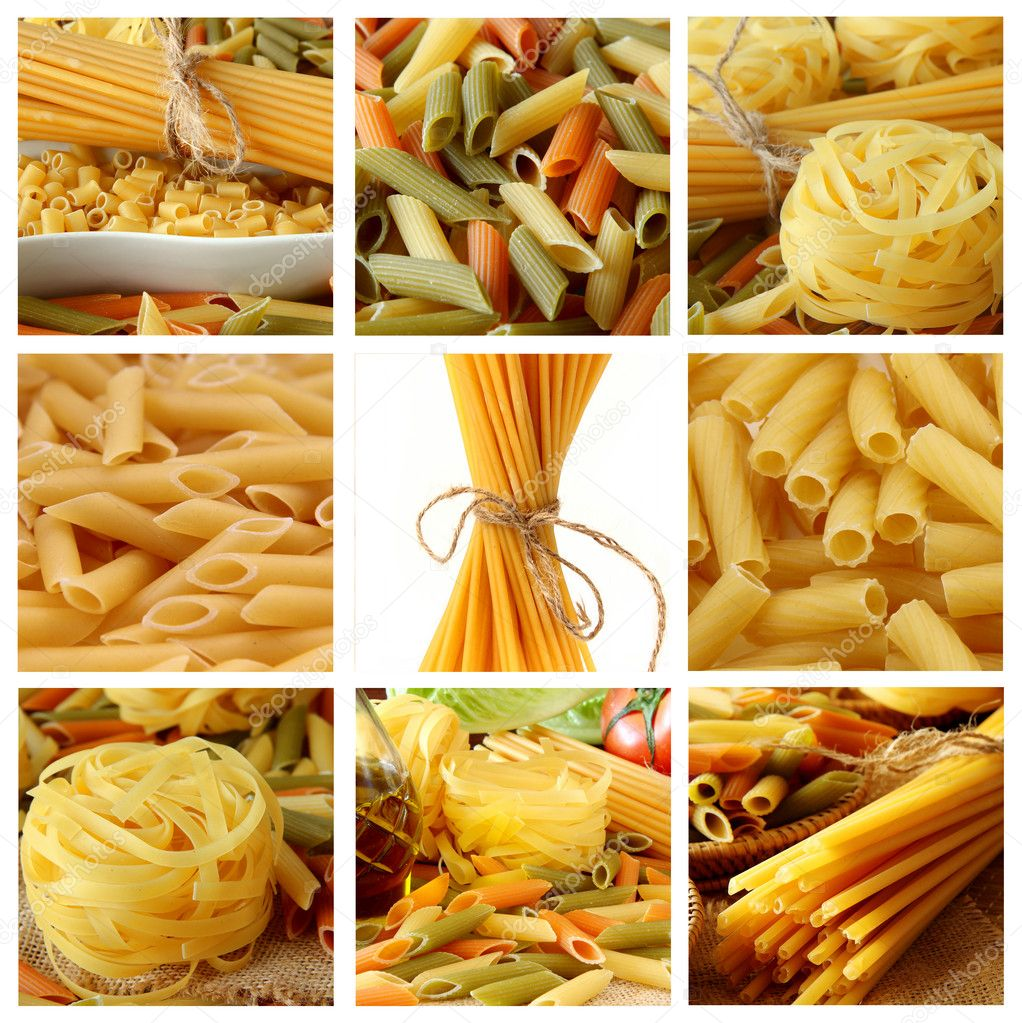 Collage with Raw pasta  — Stock Photo #5209141