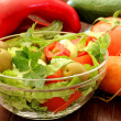 Composition with fresh raw vegetables  and Healthy Fresh Salad — Stock Photo
