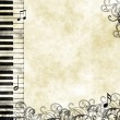 Stock Photo: Grunge floral musical background