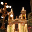 Maltese Church illuminated for the village feast — Stock Photo