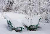 Dvě lavičky v parku zimní — Stock fotografie