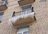 Icicles on the balcony — Stock Photo