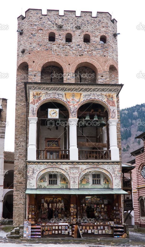 Tower in Rila Monastery, the famous Bulgarian monastery   Stock Photo #5333959