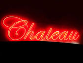 Red Chateau neon sign — Stock Photo