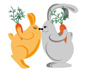 Rabbits congratulate each other on the holiday — Vector de stock