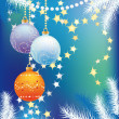 Stock Vector: New blue background with Christmas tree balls