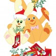 Rabbits prepare gifts for New Year — Stock Vector