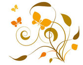 Butterflies and leaves. Vignette — Stock Vector