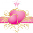 Two pink hearts on the decorative ribbon with ornament — Stock Vector