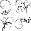 Set of ornaments. Black isolated on the white — Stock Vector