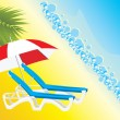Empty deckchairs under an umbrella — Vector de stock