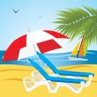 Vector de stock : Empty deckchairs under an umbrella. Beach