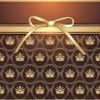 Golden bow on the decorative background - Imagen vectorial