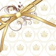 Golden bow with ornament on the decorative background - Stok Vektr