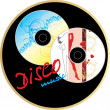 Two music disk. Sticker — Vettoriali Stock
