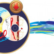 Two music disk with button. Banner — 图库矢量图片