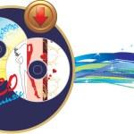 disque de musique deux avec bouton. bannière — Vecteur