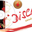 Royalty-Free Stock Vektorfiler: Music disk with button. Romance composition for banner