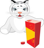 Little tiger with the package of juice. Vector — Stock Vector