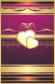 Hearts with ornament. Decorative background for design — Vecteur
