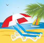 Empty deckchairs under an umbrella. Beach — Stock Vector